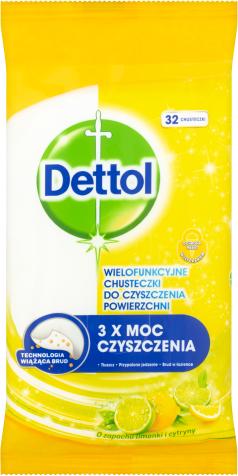 Dettol Power & Fresh Antibakteriální víceúčelové ubrousky– Citron & limeta