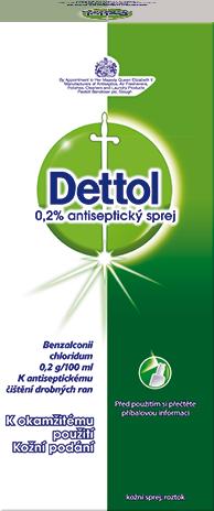 Dettol 0,2% antiseptický sprej Kožní sprej, roztok